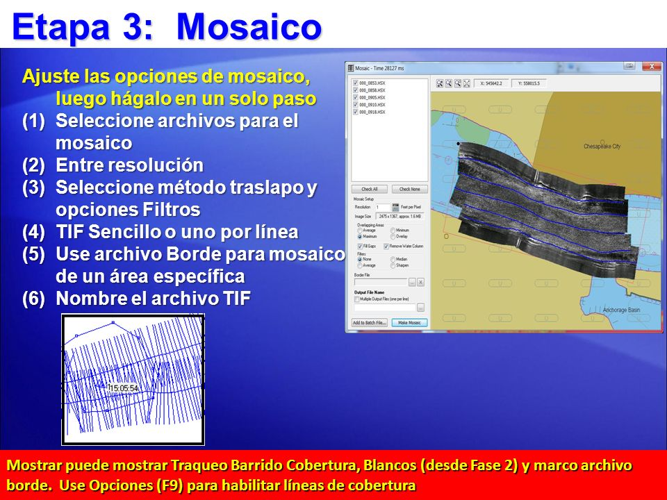 Etapa 3: Mosaico Ajuste las opciones de mosaico, luego hágalo en un solo paso. Seleccione archivos para el mosaico.