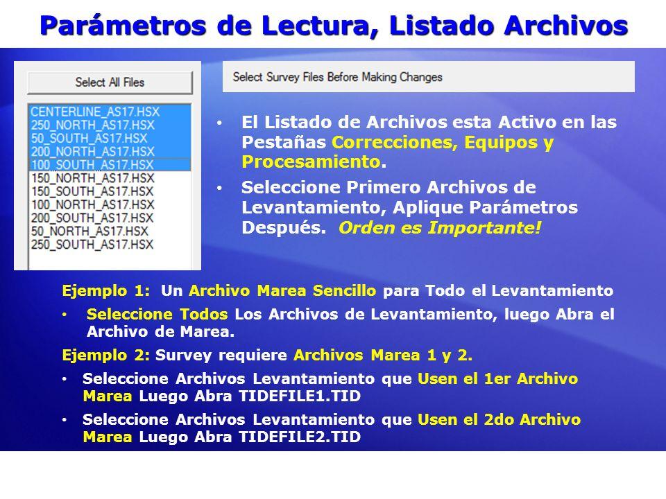 Parámetros de Lectura, Listado Archivos