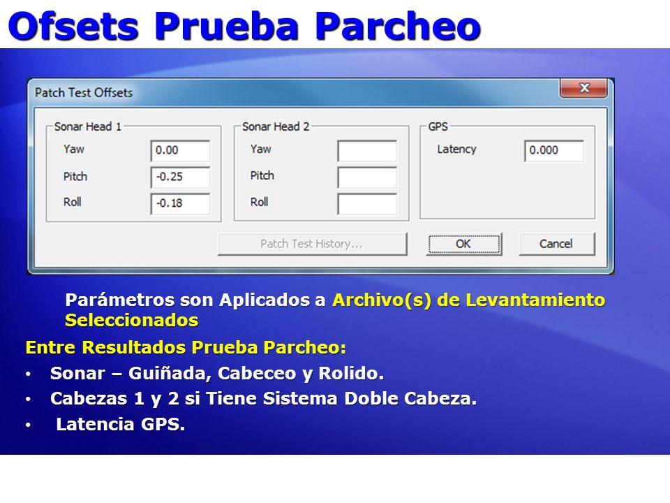 Ofsets Prueba Parcheo Parámetros son Aplicados a Archivo(s) de Levantamiento Seleccionados. Entre Resultados Prueba Parcheo: