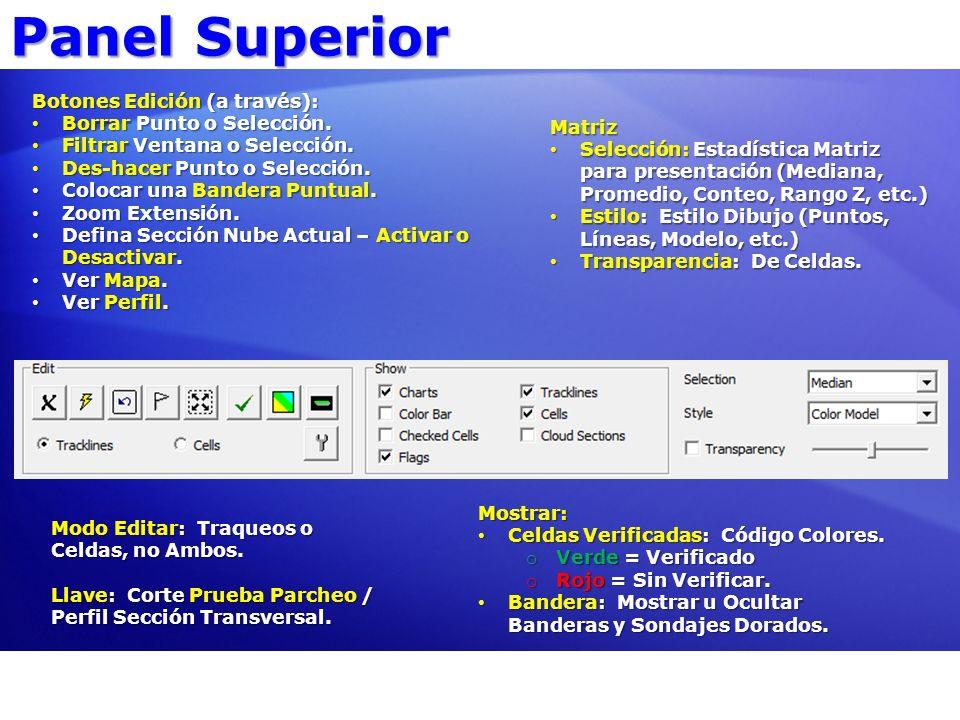 Panel Superior Botones Edición (a través): Borrar Punto o Selección.