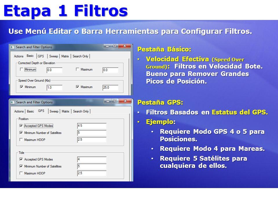 Etapa 1 Filtros Use Menú Editar o Barra Herramientas para Configurar Filtros. Pestaña Básico: