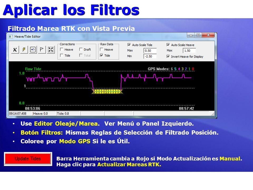 Aplicar los Filtros Filtrado Marea RTK con Vista Previa