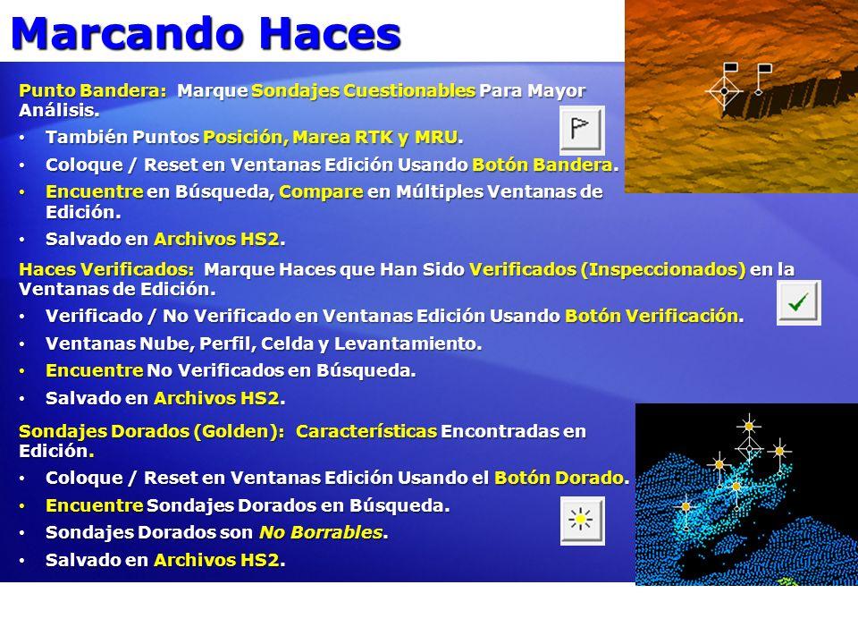 Marcando Haces Punto Bandera: Marque Sondajes Cuestionables Para Mayor Análisis. También Puntos Posición, Marea RTK y MRU.