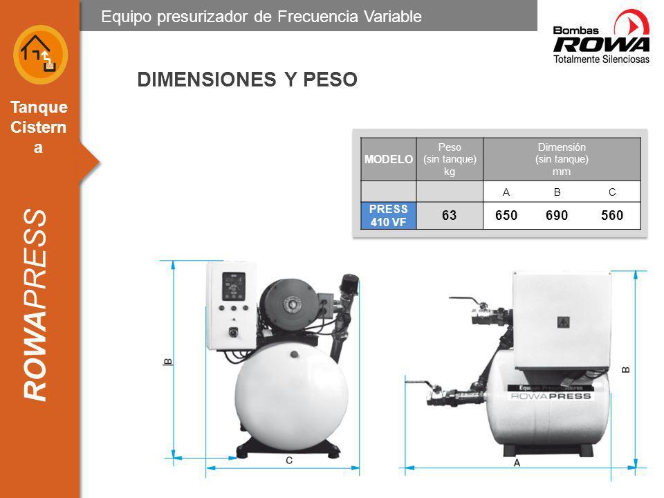 DIMENSIONES Y PESO Equipo presurizador de Frecuencia Variable 63 650