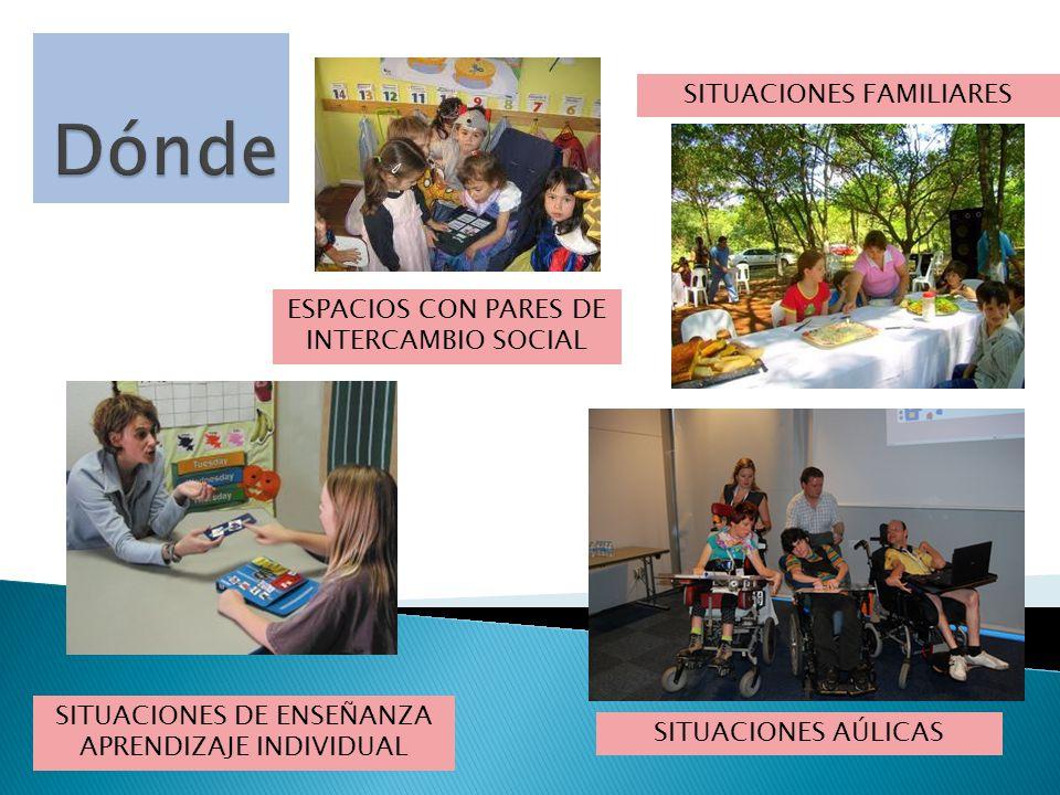 Dónde SITUACIONES FAMILIARES ESPACIOS CON PARES DE INTERCAMBIO SOCIAL