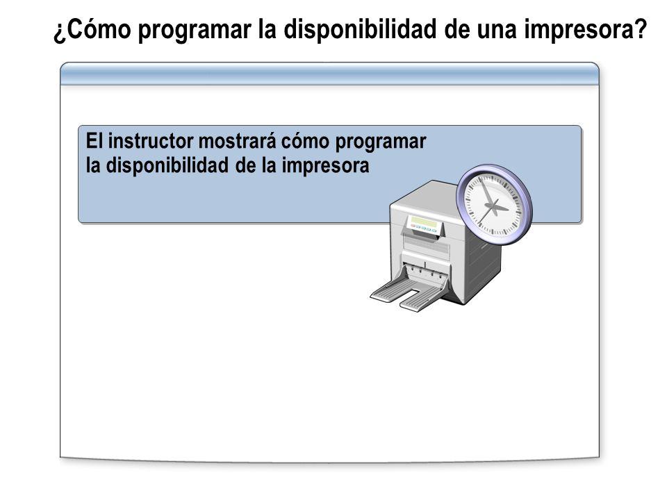 ¿Cómo programar la disponibilidad de una impresora