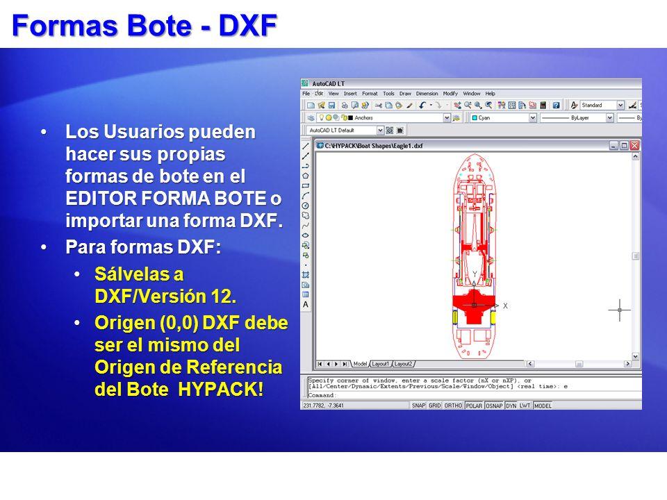 Formas Bote - DXF Los Usuarios pueden hacer sus propias formas de bote en el EDITOR FORMA BOTE o importar una forma DXF.