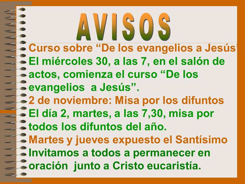AVISOS Curso sobre De los evangelios a Jesús