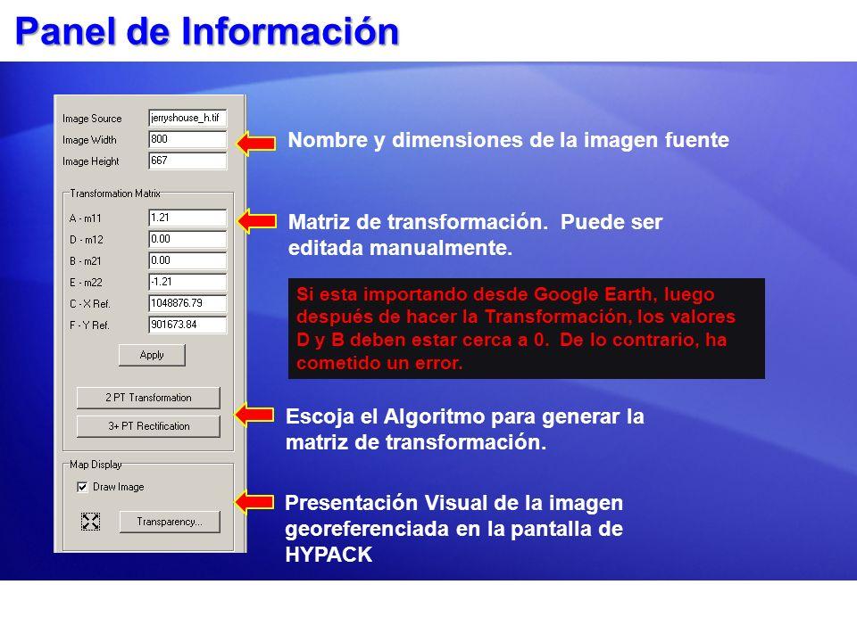 Panel de Información Nombre y dimensiones de la imagen fuente