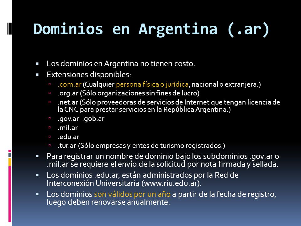 Dominios en Argentina (.ar)