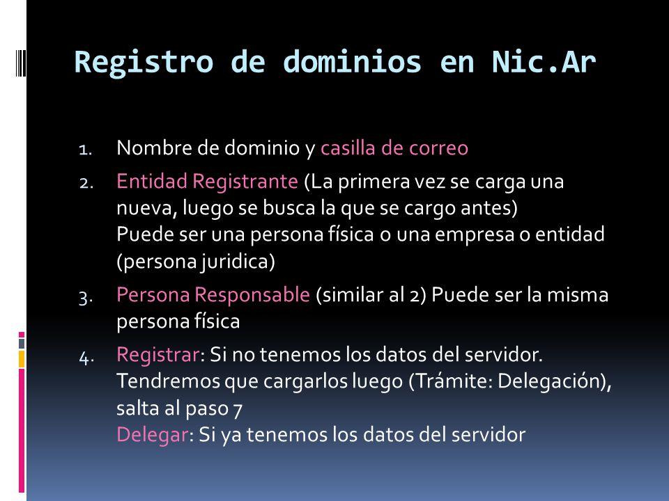 Registro de dominios en Nic.Ar