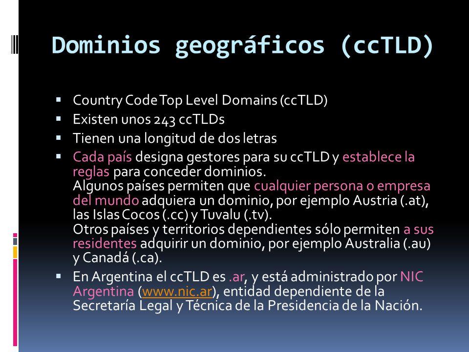 Dominios geográficos (ccTLD)