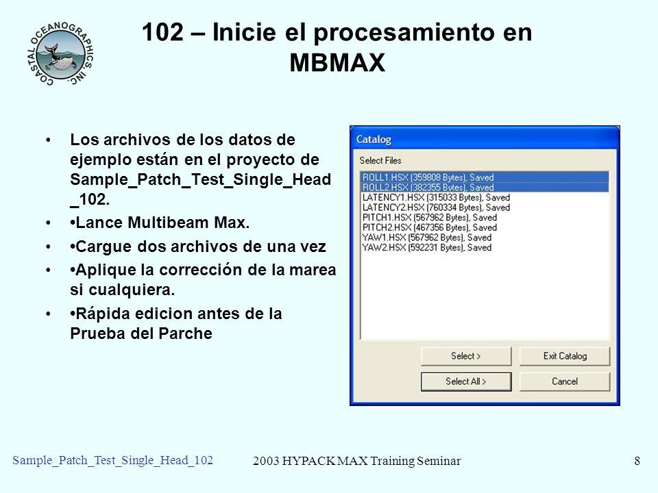 102 – Inicie el procesamiento en MBMAX