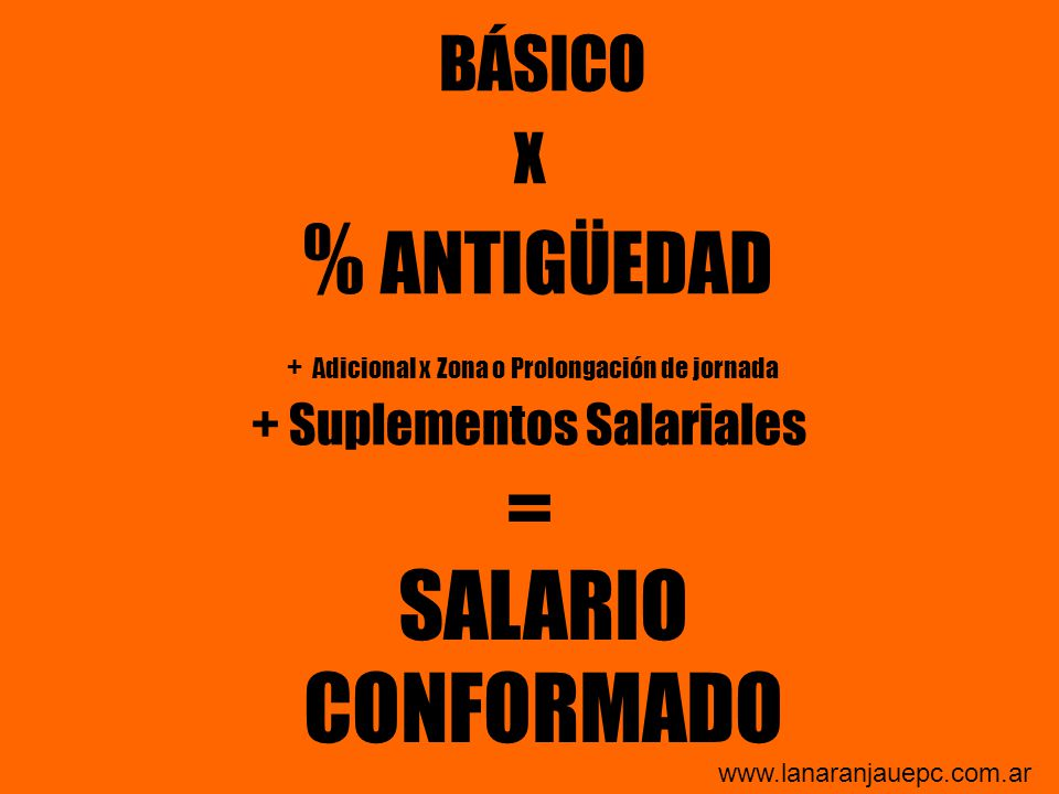 BÁSICO X % ANTIGÜEDAD + Adicional x Zona o Prolongación de jornada + Suplementos Salariales =
