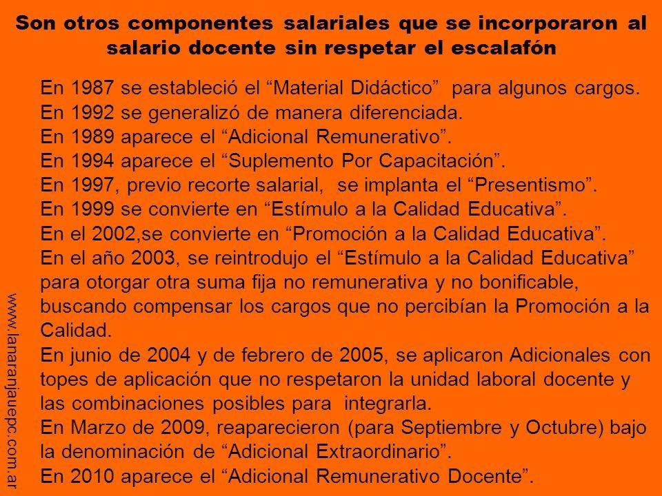En 1989 aparece el Adicional Remunerativo .