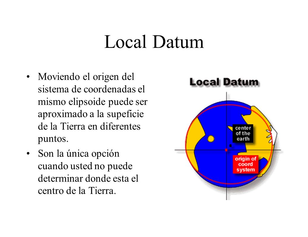 Local Datum Moviendo el origen del sistema de coordenadas el mismo elipsoide puede ser aproximado a la supeficie de la Tierra en diferentes puntos.