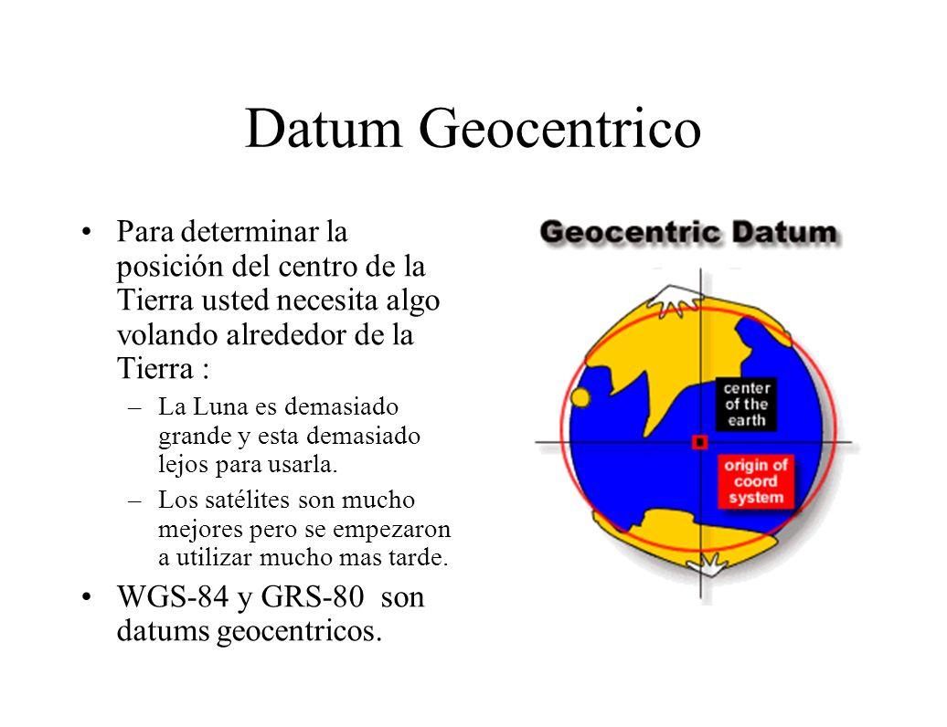 Datum Geocentrico Para determinar la posición del centro de la Tierra usted necesita algo volando alrededor de la Tierra :