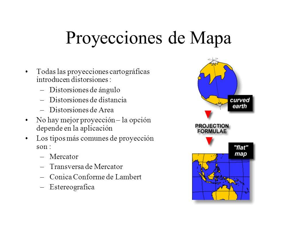 Proyecciones de Mapa Todas las proyecciones cartográficas introducen distorsiones : Distorsiones de ángulo.