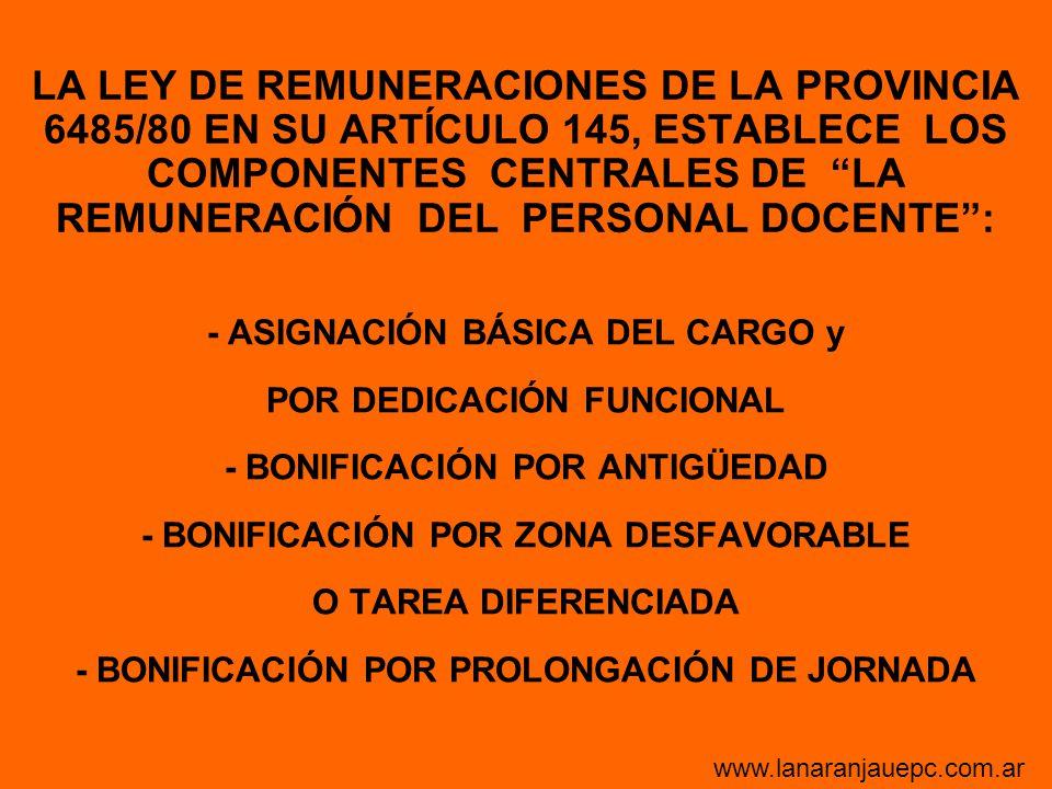 LA LEY DE REMUNERACIONES DE LA PROVINCIA 6485/80 EN SU ARTÍCULO 145, ESTABLECE LOS COMPONENTES CENTRALES DE LA REMUNERACIÓN DEL PERSONAL DOCENTE :