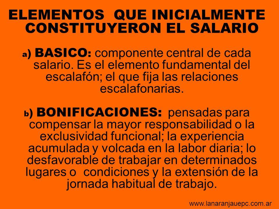 ELEMENTOS QUE INICIALMENTE CONSTITUYERON EL SALARIO