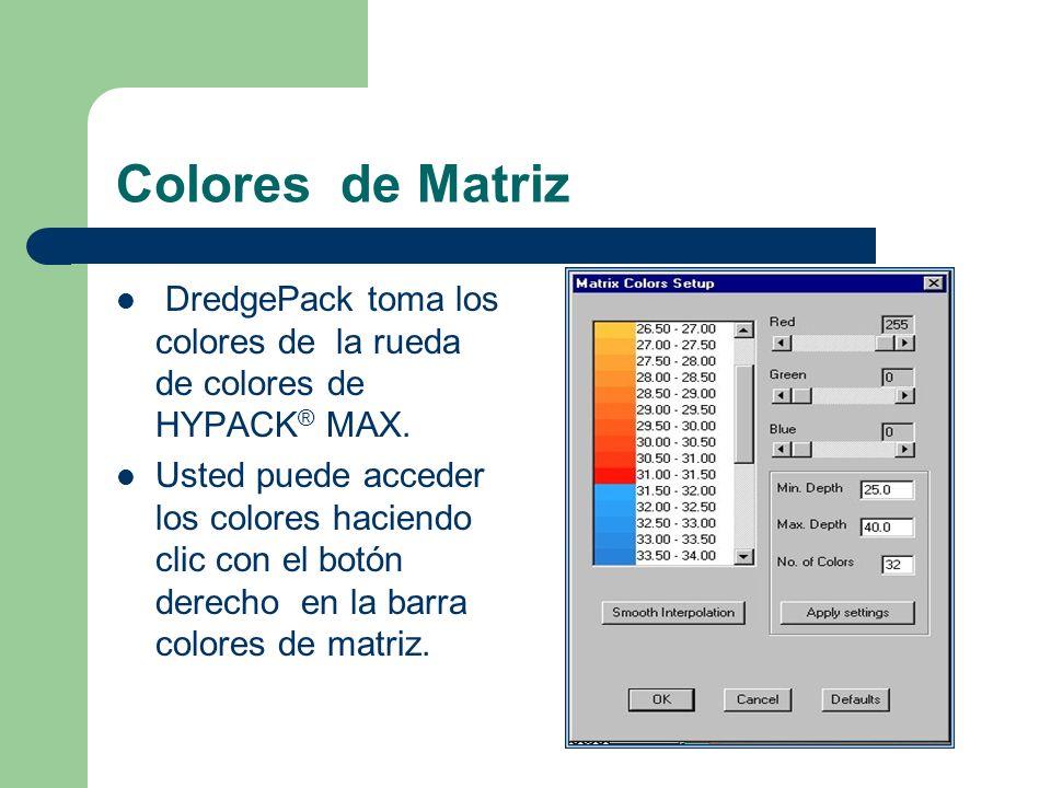Colores de Matriz DredgePack toma los colores de la rueda de colores de HYPACK® MAX.