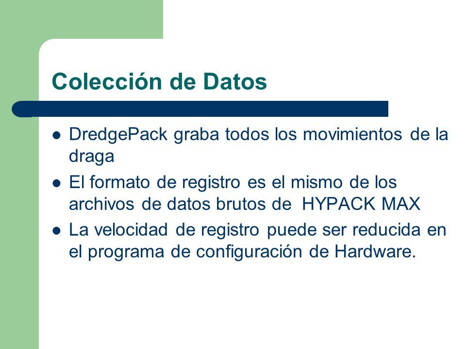 Colección de Datos DredgePack graba todos los movimientos de la draga