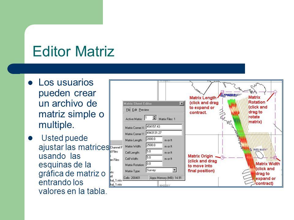 Editor Matriz Los usuarios pueden crear un archivo de matriz simple o multiple.
