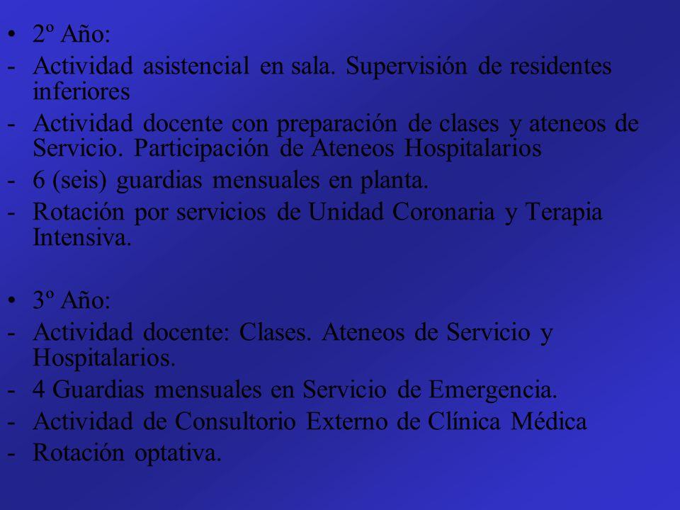 2º Año: Actividad asistencial en sala. Supervisión de residentes inferiores.