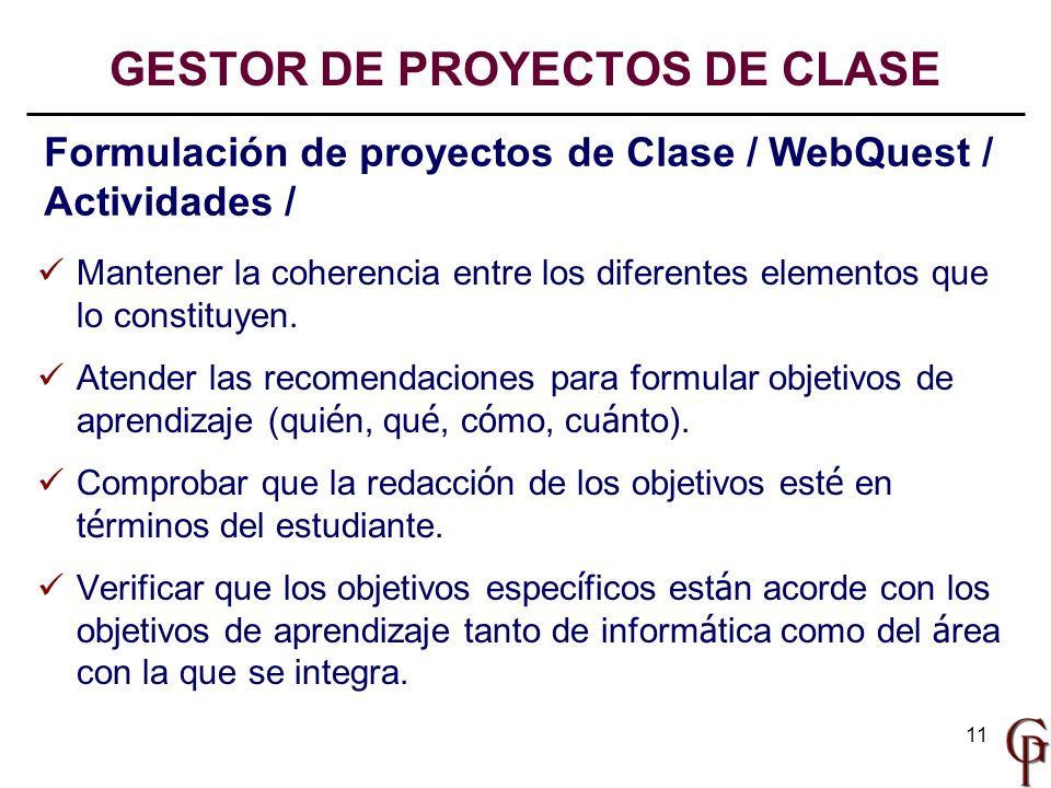 GESTOR DE PROYECTOS DE CLASE