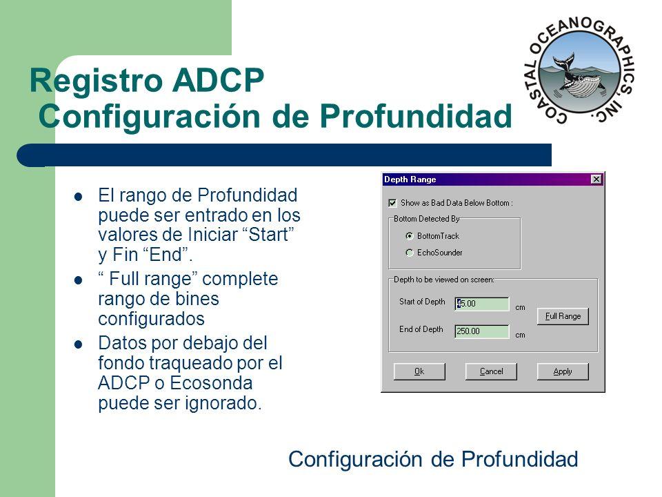 Registro ADCP Configuración de Profundidad