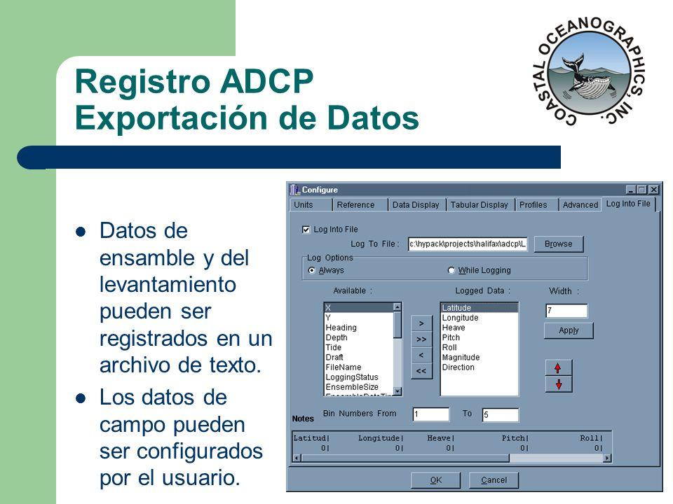 Registro ADCP Exportación de Datos