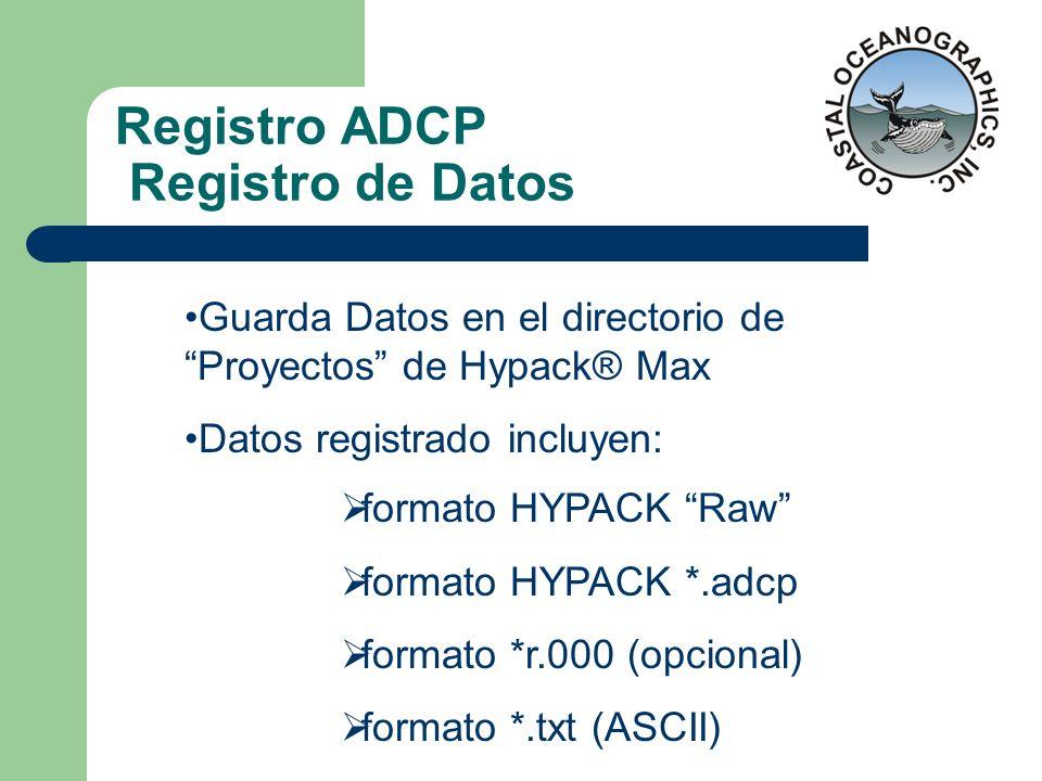 Registro ADCP Registro de Datos