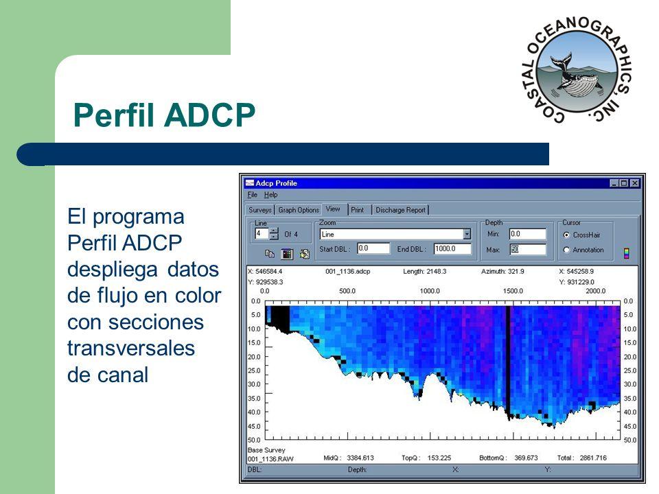 Perfil ADCP El programa Perfil ADCP despliega datos de flujo en color con secciones transversales de canal.