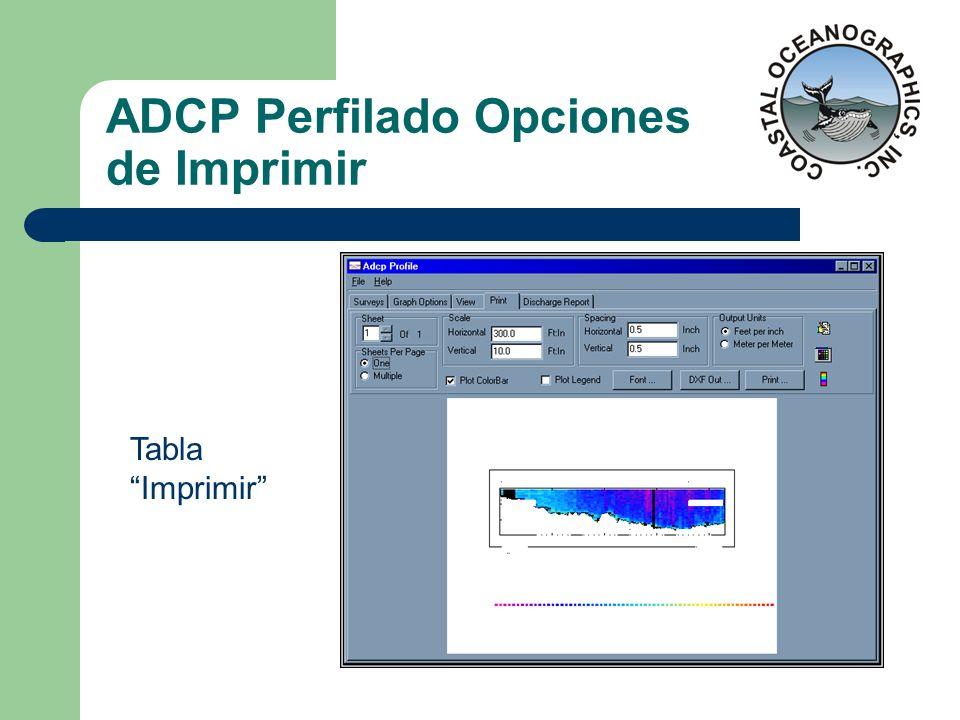 ADCP Perfilado Opciones de Imprimir