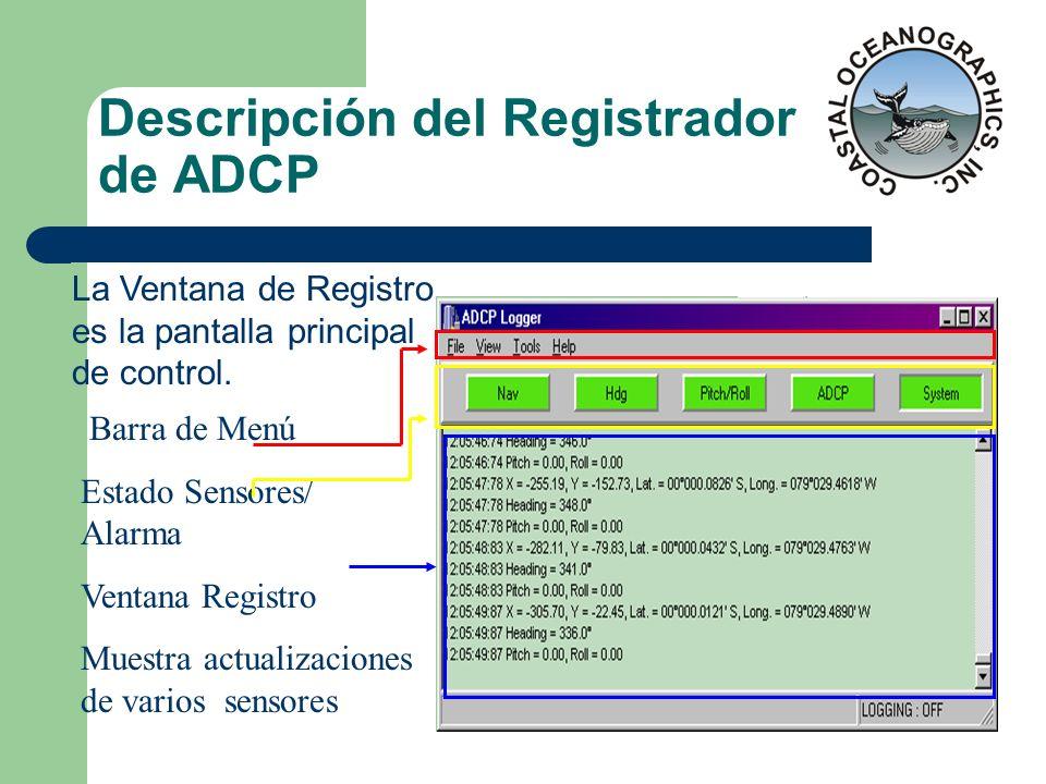 Descripción del Registrador de ADCP
