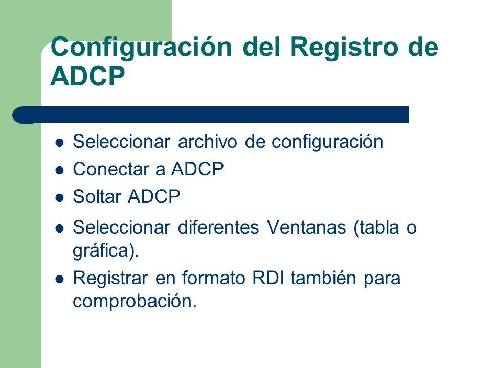 Configuración del Registro de ADCP