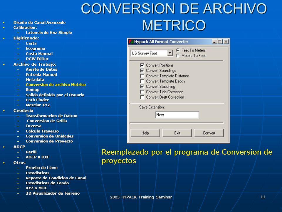CONVERSION DE ARCHIVO METRICO