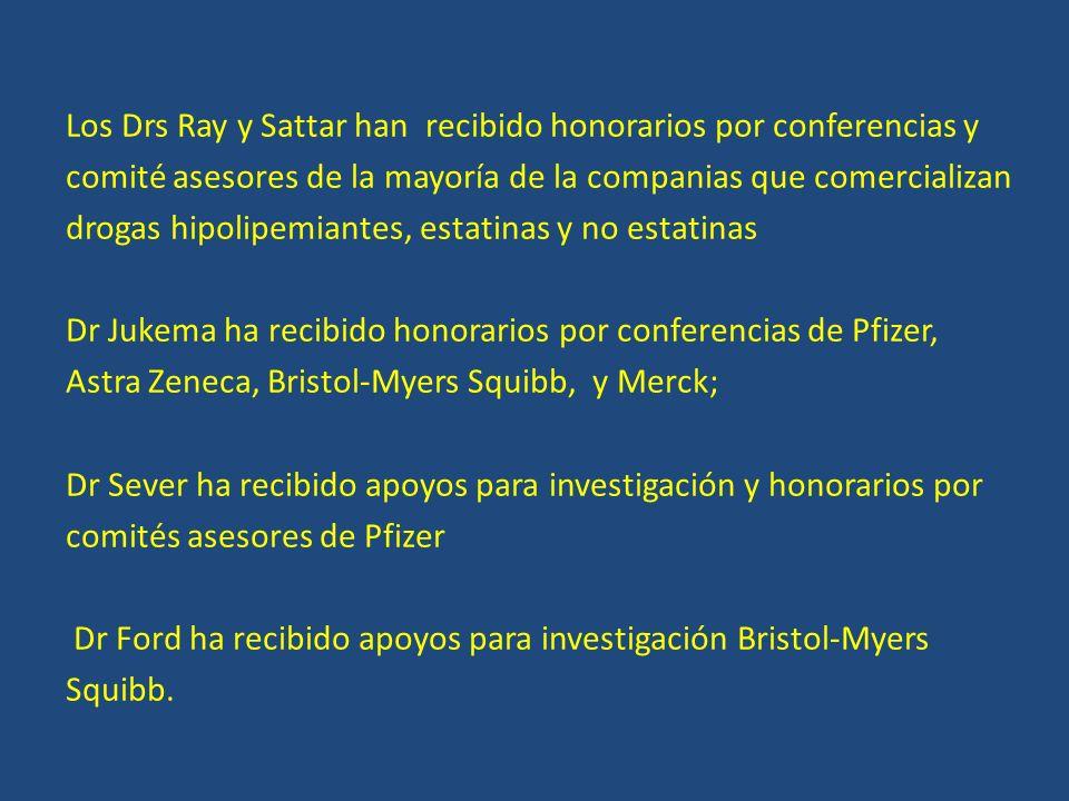 Los Drs Ray y Sattar han recibido honorarios por conferencias y comité asesores de la mayoría de la companias que comercializan drogas hipolipemiantes, estatinas y no estatinas Dr Jukema ha recibido honorarios por conferencias de Pfizer, Astra Zeneca, Bristol-Myers Squibb, y Merck; Dr Sever ha recibido apoyos para investigación y honorarios por comités asesores de Pfizer Dr Ford ha recibido apoyos para investigación Bristol-Myers Squibb.