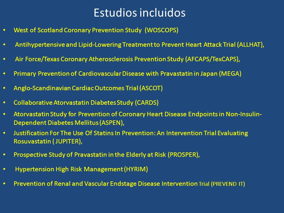 Estudios incluidos West of Scotland Coronary Prevention Study (WOSCOPS)