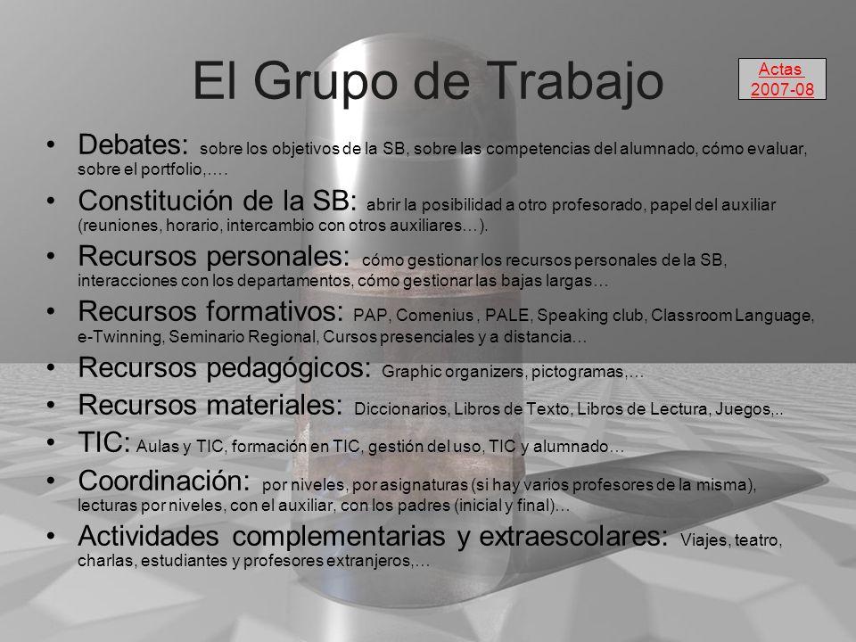 El Grupo de Trabajo Actas. 2007-08. Debates: sobre los objetivos de la SB, sobre las competencias del alumnado, cómo evaluar, sobre el portfolio,….