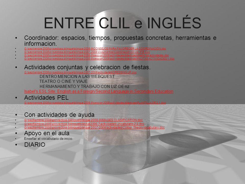 ENTRE CLIL e INGLÉS Coordinador: espacios, tiempos, propuestas concretas, herramientas e informacion.