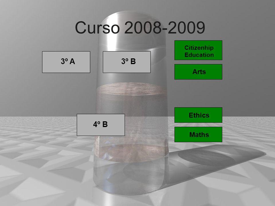 Curso 2008-2009 3º A 3º B 4º B 1º 1º Arts Ethics 1º Maths