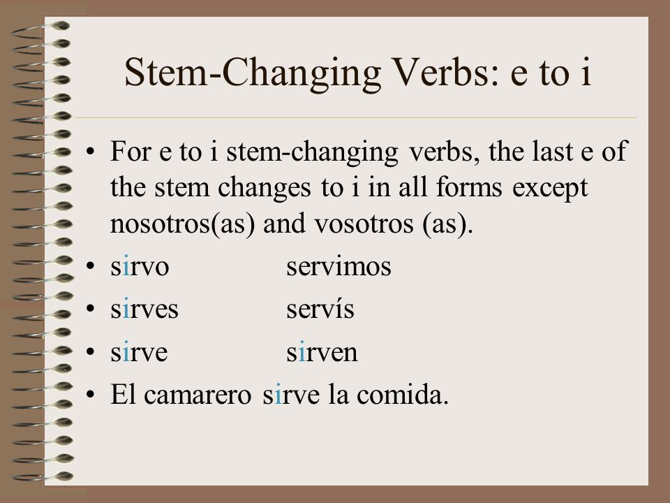 Stem-Changing Verbs: e to i