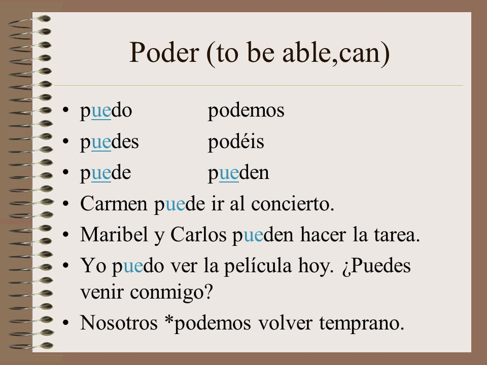Poder (to be able,can) puedo podemos puedes podéis puede pueden