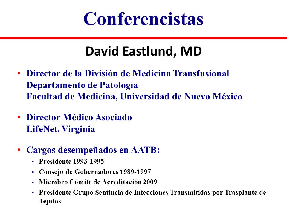 Conferencistas David Eastlund, MD