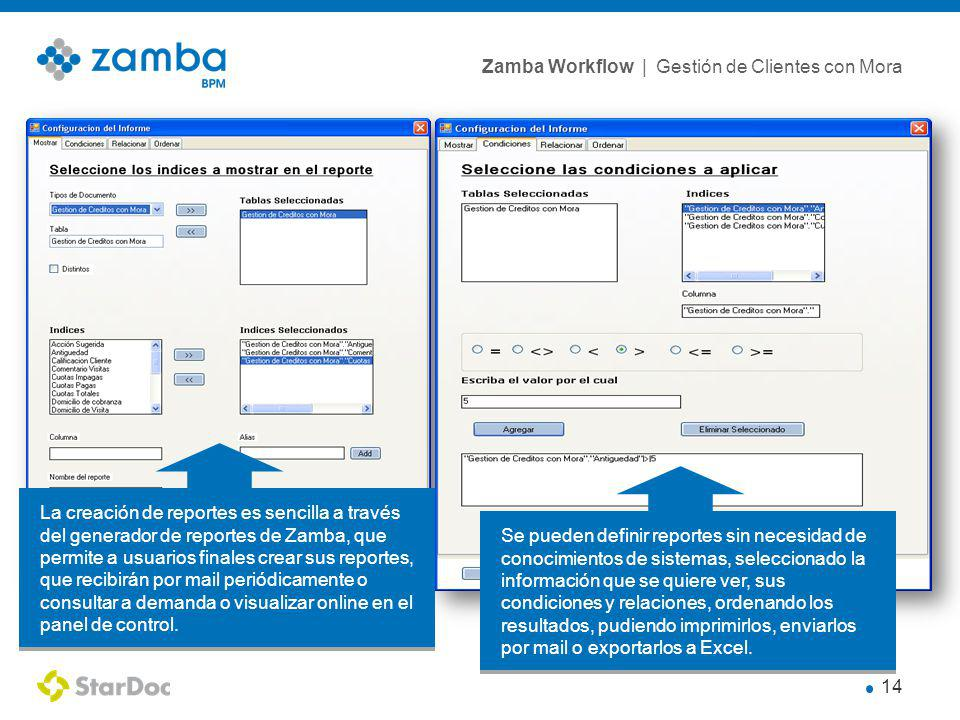 La creación de reportes es sencilla a través del generador de reportes de Zamba, que permite a usuarios finales crear sus reportes, que recibirán por mail periódicamente o consultar a demanda o visualizar online en el panel de control.