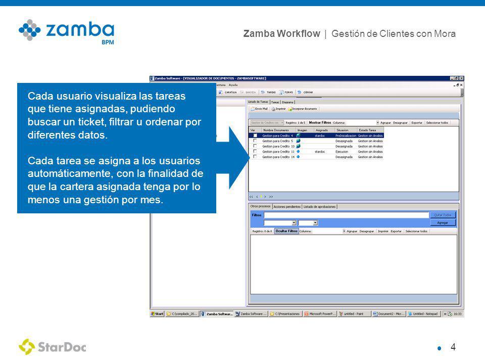 Cada usuario visualiza las tareas que tiene asignadas, pudiendo buscar un ticket, filtrar u ordenar por diferentes datos.