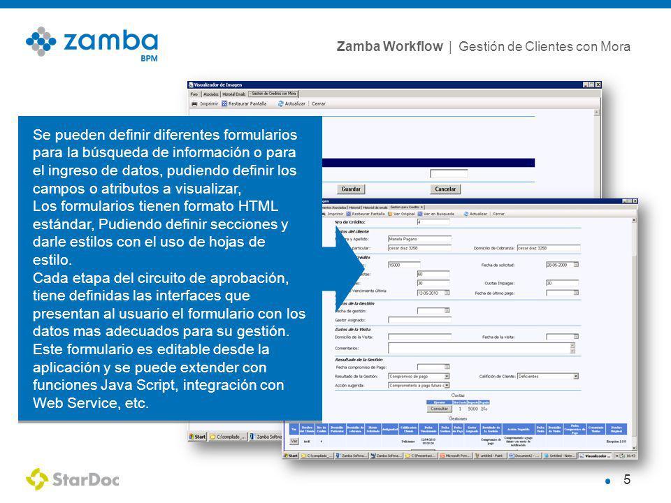 Se pueden definir diferentes formularios para la búsqueda de información o para el ingreso de datos, pudiendo definir los campos o atributos a visualizar,