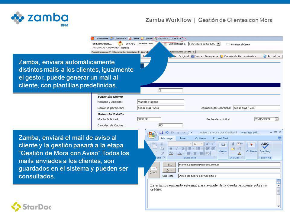 Zamba, enviara automáticamente distintos mails a los clientes, igualmente el gestor, puede generar un mail al cliente, con plantillas predefinidas.
