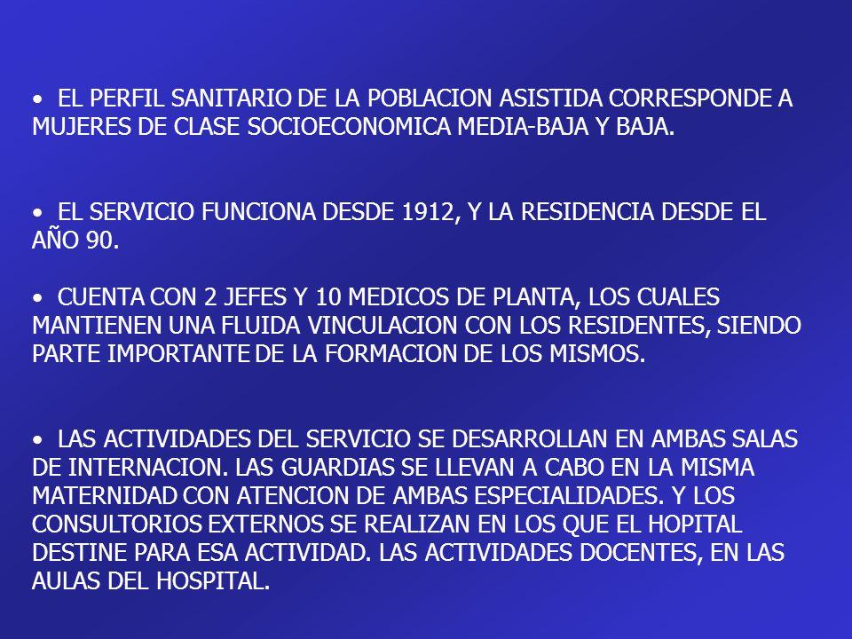 EL PERFIL SANITARIO DE LA POBLACION ASISTIDA CORRESPONDE A MUJERES DE CLASE SOCIOECONOMICA MEDIA-BAJA Y BAJA.